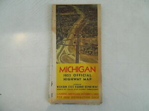 1952 Official Highway Map of Michigan