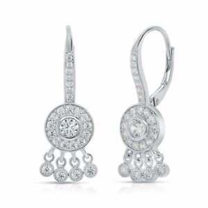 Sterling Silver Cubic Zirconia Chandelier Dangle Drop Earrings Leverback 30mm