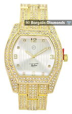 manly big gold tone square CZ ice out case dial clubbing watch bracelet