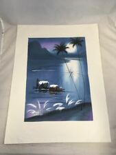 Moonlight River Landscape Asian Style Painting on Canvas Paper Unframed