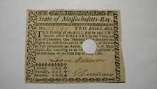 $2 1780 Massachusetts Bay MA Colonial Currency Note Bill Two Dollars Revolution