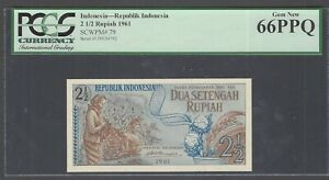 Indonesia 2 1/2 Rupiah 1961 P79 Uncirculated Graded 66