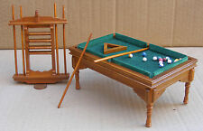 1:12 Scale Wooden Walnut Pool Table Balls 6 x Cues Dolls House Pub Snooker 676