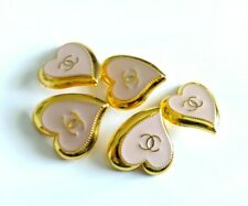 """4 STAMPED CHANEL STEEL HEARTS BUTTONS PINK GOLD CC 21.5 mm, 0.84"""" lot of 4"""