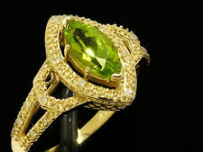 R190- Genuine 9ct SOLID Gold NATURAL Peridot & Diamond Solitaire Ring size M