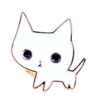 Super cute gold and white kitty kitten cat brooch / pin
