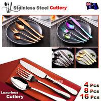 Stylish Deluxe Stainless Steel Knife Fork Spoon Teaspoon Kitchen Cutlery Set AU