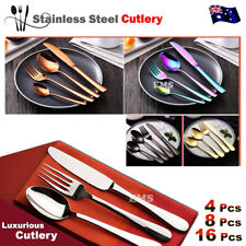 Stylish Deluxe Stainless Steel Knife Fork Spoon Teaspoon Kitchen Cutlery Set AU
