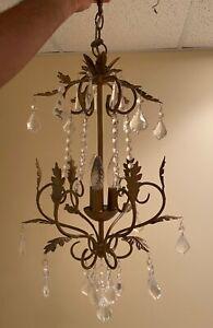 Vintage Gold Leaf Pendant Lighting Crystal Chandelier Lighting Fixture 3 Lights