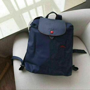 New Longchamp Le Pliage Club Horse Embroidery Backpack 1699 Nylon - Navy Blue