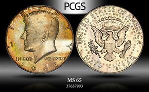 1966-P SILVER KENNEDY HALF DOLLAR PCGS MS66 SHARP GOLD TONED