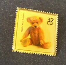 Teddy Bear Created 32 (cent) USA stamp gold tone lapel pin