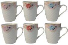 Set of 6 White Ceramic Large Mugs Coffee & Tea Mugs 350ml Embossed With Roses