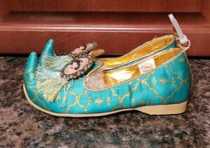 Disney Princess Jasmine Aladdin Costume Shoes Dress Up Blue Gold Size 11 12 NEW