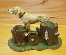 ANTIQUE VINTAGE CAST iron  METAL hound dog TOOTHPICK HOLDER tobacco