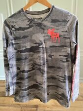 Abercrombie Kids - Boys Long-Sleeve Camouflage Gray Top / T-Shirt - Size 13/14