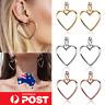 NEW Silver Rose Gold Double Heart Earrings Dangle Hoop Hollow Ear Studs