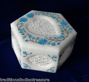 """5""""x5""""x3"""" Marble Jewelry Box Turquoise Inlay Stone Heart Shaped Exclusive Gifts"""