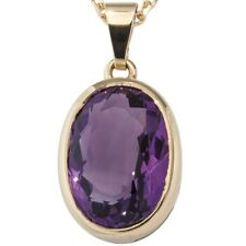 Pendant with Amethyst Violet Purple Oval Facetted, 585 Yellow Gold Ladies