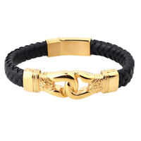 New Rapper Jewelry for Men Gold Stainless Steel Braided Leather Bracelet 12mm