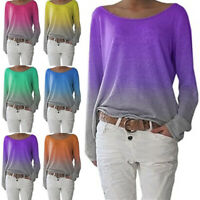 Womens Long Sleeve Gradient T-Shirt Tops Ladies Loose Casual Pullover Blouse