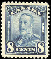 Mint NH Canada 8c 1928 F+ Scott #154 King George V Scroll Stamp