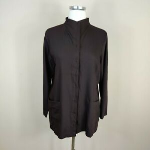 Eileen Fisher Brown Wool Button Front Tunic Top M Petite