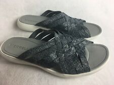 MERRELL Womens Size 8 (39) Slides Sandals Black Gray Woven Lightweight Excellent