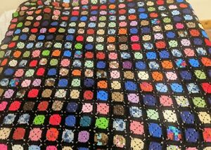 "Vtg Granny Square Black Colorful Queen 84"" x 86"" Afghan Coverlet Quilt Bedspread"