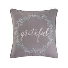 GRATEFUL WREATH Accent Throw Pillow Embroidered Grey Farmhouse Decor C&F 18x18
