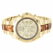 Tiger Eye Link Watch Gold Tone Women Roman Numeral Round Face Gino Milano New