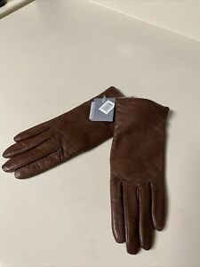 leather driving gloves cashmere lined soft Brown leather Nordstrom Size 7 New