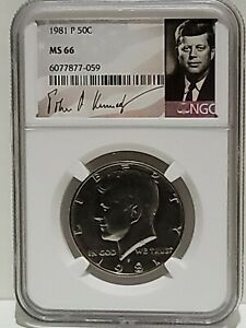 1981-P Kennedy Half Dollar 50c NGC MS-66 Signature Label