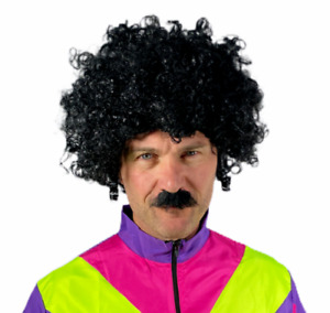 BLACK CURLY AFRO WIG & MOUSTACHE FUNKY DISCO MENS LADIES 70S FANCY DRESS COSTUME