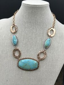Barse Nuance Necklace- Mixed Metals & Turquoise- NWT