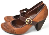 NICOLE Career Heels Two-Tone Brown Leather Buckle Man made Shoes Wingtip EUC