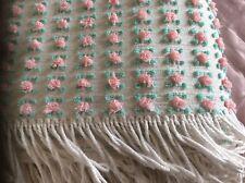 Vintage Vantona Pink Rosebud Chenille Bedspread Candlewick Throw Camping