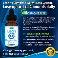 Fast Acting Lean 40 Diet Drops Weight Loss Supplement Fat Burner HCG-Free