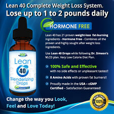 Lean 40-Hormone Free HCG FREE Diet Drops(w/Free VLCD Plan) Lose 1-2 Pounds a day