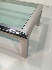 stainless steel coffee table with glass karl springer brueton pace heavy