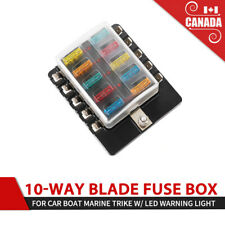 10-Way Blade Fuse Box LED Illuminated Automotive Fuse Block w/LED Warning Light