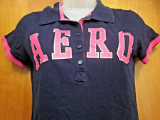AEROPOSTALE youth lrg blue polo shirt Aero girls pink lettering slimfit