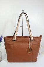 """MICHAEL KORS """"Jet Set"""" Tote Shoulder Bag Zip Top Large Tan Leather ~ V Good Con"""