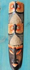 """TIKI MASK OWL 20"""" WOOD TRIBAL HOME WALL DECOR TRIBAL AFRICAN SHELL"""