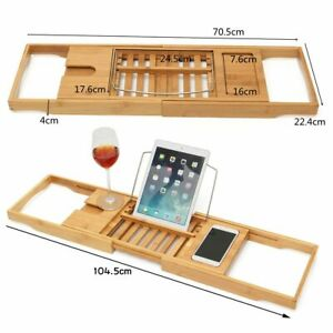 Extendable Bathroom Bambo Shelf Bathtub Tray Shower Caddy Rack Towel Wine Holder