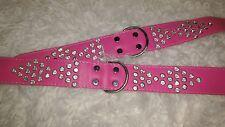 DOGGY Things fantasia hand made in Pelle Diamante Collare per Cani, 60 cm, Rosa Caldo