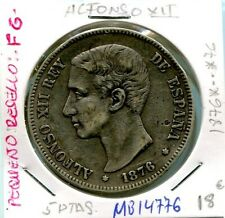 5 PESETAS ALFONSO XII  AÑO 1876 *.. *767 ( resello FG  )     ( MB14776 )