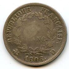 Empire Napoleon Ier 1 Franc 1808 D Lyon F.204/5