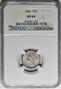 1865 3CN NGC MS 64 Choice PQ Gem Uncirculated Three Cent Nickel Type Coin