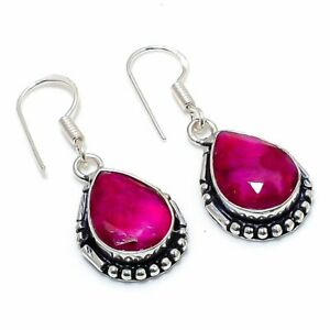 "Kashmir Red Ruby Gemstone Handmade Jewelry Earring 1.42 """
